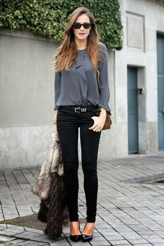 Cute look. I like the top- great color and style. Also like the pants with the belt. I don't have any belts.. hmmm..