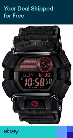 10f1e73fb62 Casio G-Shock Mens Quartz World Time Red Accent Black Resin 50mm Watch  GD400-1