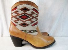 Womens WANTED TEJAS AZTEC LEATHER Tapestry ANKLE BOOT WESTERN SHOE BROWN 10 Ethnic