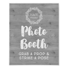 Wedding Photo Booth Sign Wood Pattern Wreath