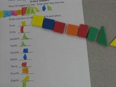 Hand on ordinal number center activity.  Give students shapes and have them create their own acitivty.  Great for first and second grade common core.  From www.thecurriculumcorner.com