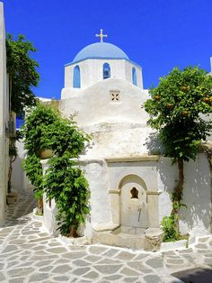 Church and Orange Tree Parikia Paros , Greece--I know I've passed this spot going to school!