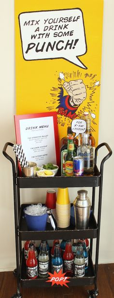 """Super Bar"" at a comic book party! food and drink book Comic Book Party Super Bar Comic Book Parties, Book Birthday Parties, Comic Party, Birthday Celebration, Birthday Ideas, Adult Superhero Party, Superhero Birthday Party, Adult Party Themes, 40th Birthday"