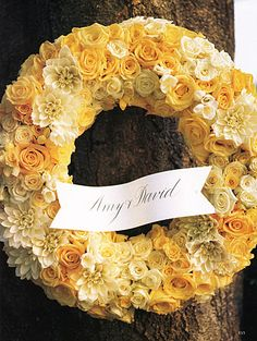 yellow floral wedding events party wreath decor