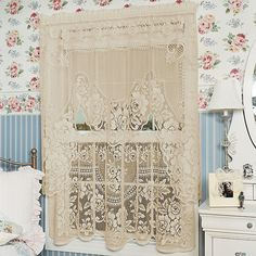 Shop for white lace curtains at Bed Bath & Beyond. Buy top selling products like Heritage Lace® Victorian Rose Window Curtain Tier Pair and Heritage Lace® Lighthouse Window Curtain Tier and Valance. White Lace Curtains, Rose Curtains, Cottage Curtains, Crochet Curtains, Ruffle Curtains, Window Swags, Lace Window, Window Curtains, Window Cornices