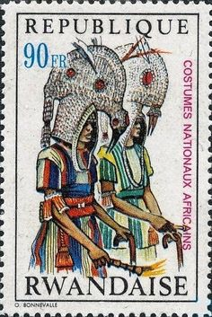 Stamp%3A%20Sinehatiali%20dance%20costumes%2C%20Ivory%20Coast%20(Rwanda)%20(National%20African%20costumes)%20Mi%3ARW%20383%2CSn%3ARW%20350%2CYt%3ARW%20353%2CBel%3ARW%20353%20%23colnect%20%23collection%20%23stamps