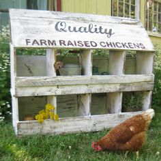 Primitive chicken nests or cubbies, hand lettered top great for storage and display. $255.00, via Etsy.