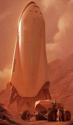 SpaceX spaceship on Mars by Alexandra Hodgson. What could be more sci-fi than musk's absurd promise to colonize mars (in five years, give or take a few decades) Spaceship Design, Spaceship Concept, Arte Sci Fi, Sci Fi Art, Cyberpunk, Spacex Rocket, Cosmos, Mars Colony, Science Fiction Art