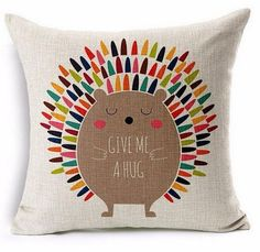 Give me a hug Hedgehog  Pillow Cover by UniikStuff on Etsy
