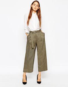 Khaki wide leg trousers
