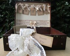 Antique Style Vintage Wooden Suitcase Wedding Card Holder Post Box Lined with love notes paper decorated with lace handmade bunting with pegs and a