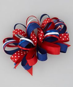 Red & Blue Loopy Bow Clip by Bourbon Street Boutique on #zulily