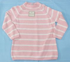 Pink Striped Sweater Size L White Pullover 12 14 NWT Cotton New Womens #WhiteStag #Sweater