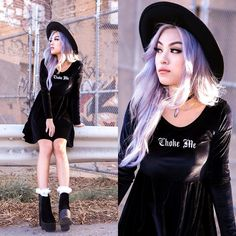United Couture Choke Me Velvet Dress, Public Desire Alegra Black Su Boots