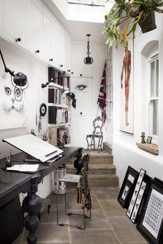 A peek into an artist's workspace. Lighting is key - the wall lights demonstrate…