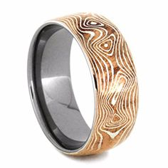 Copper and Sterling Silver Mokume 7mm Comfort-Fit Titanium Wedding Band Review
