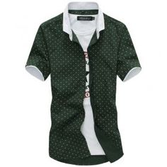 XTX Mens Classic Irregular Printed Stand Collar Western Button Down Shirt