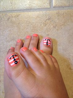 Anchor toes with orange⚓