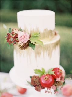 Marsala and Gold Wedding Cake Inspiration.  Pinned by Afloral.com from http://styleunveiled.com/marsala-pantone/ ~Afloral.com has high-quality faux and preserved flowers and stems for your DIY wedding.