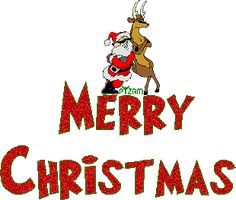 christmas clip art | Santa and reindeer in Merry Christmas clip art photo