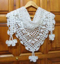 Crochet bufanda, bufanda de encaje blanco, bufandas de las mujeres, abrigo del cuello, bufanda única