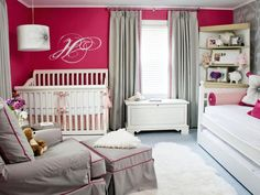 Gorgeous Nursery Suite from HGTV Designers' Portfolio. I like the magenta color with the grey and white