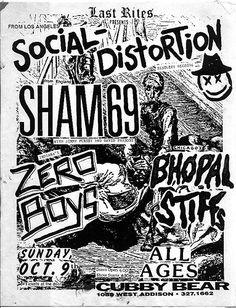 Sham 69, Social Distortion, Zero Boys punk hardcore flyer