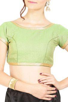3a0c6323310354 Green Art Silk Blouse by Tresorhouse