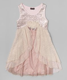 Love this Pink Cascading Ruffle Empire-Waist Dress - Girls by Truly Me on #zulily! #zulilyfinds