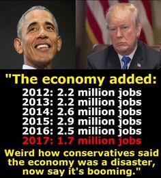 1/15/18   1:56a   Prez Obama vs Trump Job Gains  We cannot believe any Job Figures from Trump!  All Fake and Phony!