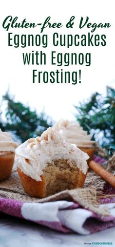 Eggnog Cupcakes with Eggnog Frosting (GF & Allergy-friendly!) Holiday dessert recipe by Allergy Awesomeness |vegan eggnog cupcakes| |vegan holiday treats| |dairy-free eggnog cupcakes| |dairy-free eggnog frosting| |allergy-friendly eggnog cupcakes| |gluten-free eggnog cupcakes| |gluten-free eggnog frosting|
