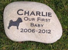 Personalized Dog Memorial Pet Stone Pug Pug Headstone Burial Memorial Stone Marker 9 - 10 Inch & Other Breeds #burial_stone #dog_cemetery_stone #dog_grave_marker