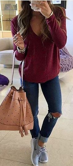 #winter #fashion /  Burgundy Knit / Navy Skinny Jeans / Grey Sneakers / Camel Dotted Tote