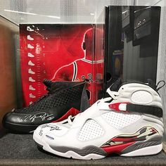"""The NBA Store in NYC has a ton of cool memorabilia on display. This is the Air Jordan 8/15 CDP (autographed by Jordan himself). This pack came out in 2008, celebrating the release of the AJ XX3. CDP stands for """"Countdown Pack,"""" and 8+15 obviously adds up to 23. #nikestories #nbastore #airjordan #cdp #airjordanVIII #airjordanXV #nyc #jordansdaily #kotd #jumpman #niketalk"""
