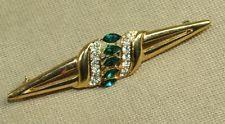 "Vintage 80's Art Deco Style Goldtone Green Navette Rhinestone Bar Pin Brooch 3"""