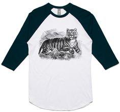 theIndie Spooked Tiger (Black) 3/4-Sleeve Raglan Baseball T-Shirt