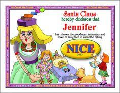 Cool, free nice list certificate Nice List, Certificate, Laughter, Cool Stuff, Christmas, Free, Xmas, Navidad, Noel