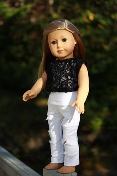 3 piece set!! white tank top, black lace off the shoulder tee, white ripped skinny jeans, 18 inch doll clothes American Girl doll clothes