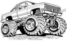 Monster truck drawing easy Ideas for 2019 Monster Truck Drawing, Monster Truck Coloring Pages, Race Car Coloring Pages, Cool Car Drawings, Easy Drawings, Tattoo Drawings, Lowrider Drawings, Cartoon Car Drawing, Monster Trucks
