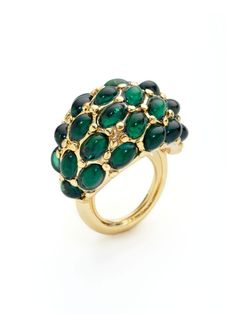 Kenneth Jay Lane Emerald Cabochon Dome Ring