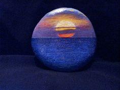 Hawaiian Sunset Or over the mountains Pebble Painting, Dot Painting, Pebble Art, Stone Painting, Stone Crafts, Rock Crafts, Rock And Pebbles, We Will Rock You, Beach Rocks