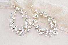 Crystal Bridal earrings Hoop Chandelier earrings Bridal | Etsy