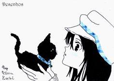 Desenhos: Menina anime com gatinho