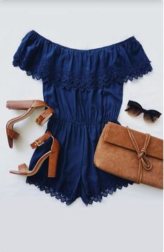 Coventina Navy Blue Off-the-Shoulder Lace Romper is what our vacation-ready wardrobe is craving! Summer Wear, Spring Summer Fashion, Spring Outfits, Outfit Summer, Dress Summer, Party Summer, Summer Body, Casual Outfits, Cute Outfits