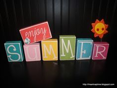 Get out your favorite paint colors - this is the perfect summer craft for adults! Show your love for this sunny season by creating Enjoy Summer Blocks! This is an easy craft that won't take long to complete. Wood Block Crafts, Wood Crafts, Fun Crafts, Canvas Crafts, Vinyl Crafts, Summer Fun For Kids, Enjoy Summer, Summer Crafts, Holiday Crafts