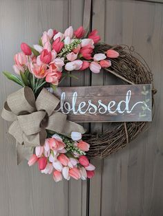 This 18 grapevine spring tulip wreath is a perfect addition to your spring decor. Wreath includes tulips (color options available), blessed sign and linen ribbon. Wreath Crafts, Diy Wreath, Grapevine Wreath, Wreath Ideas, Diy Spring Wreath, Spring Crafts, Summer Door Wreaths, Wreaths For Front Door, Front Porch
