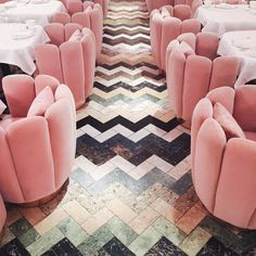 """stylishblogger: """" Pink velvet chairs and pretty chevron floors. by @songofstyle """""""