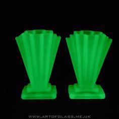 Bagley pair of 4 tall Grantham Art Deco 1930s uranium green glass vases