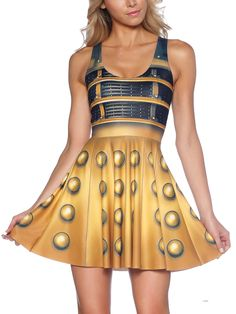 Dalek Scoop Skater Dress (WW ONLY $95AUD) by Black Milk Clothing