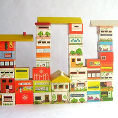 Vintage Set of Wooden House and Cityscape Blocks.